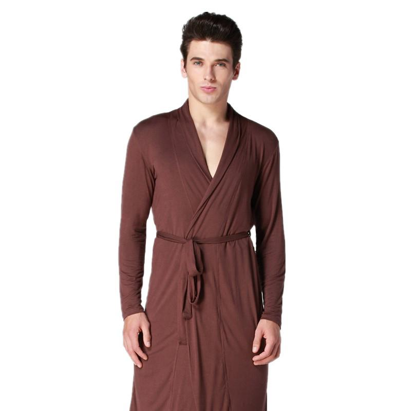 b6f7634ea264 2019 Coffee Men Kimono Bathrobe Gown Long Sleeve Robe Nightgown Summer  Casual Sleepwear Modal Pijamas Nightwear Size L XL XXL From Bunnier