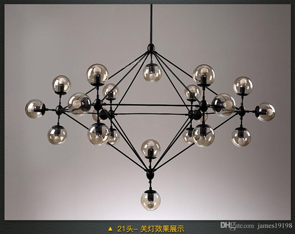 Acquista moderna lampada a sospensione a led in vetro con lampadario
