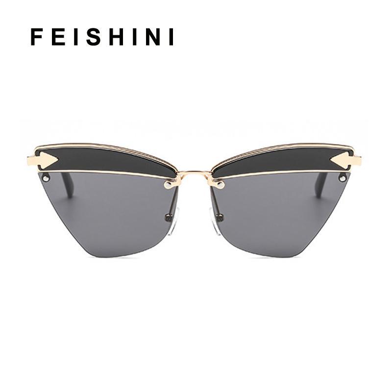 4ed00dbe93988 Compre FEISHINI Marca Armação De Metal Sem Aro Do Olho De Gato Óculos De Sol  Das Senhoras Espelho 2018 Moda Moda Rosa Óculos Mulheres UV Protector De ...