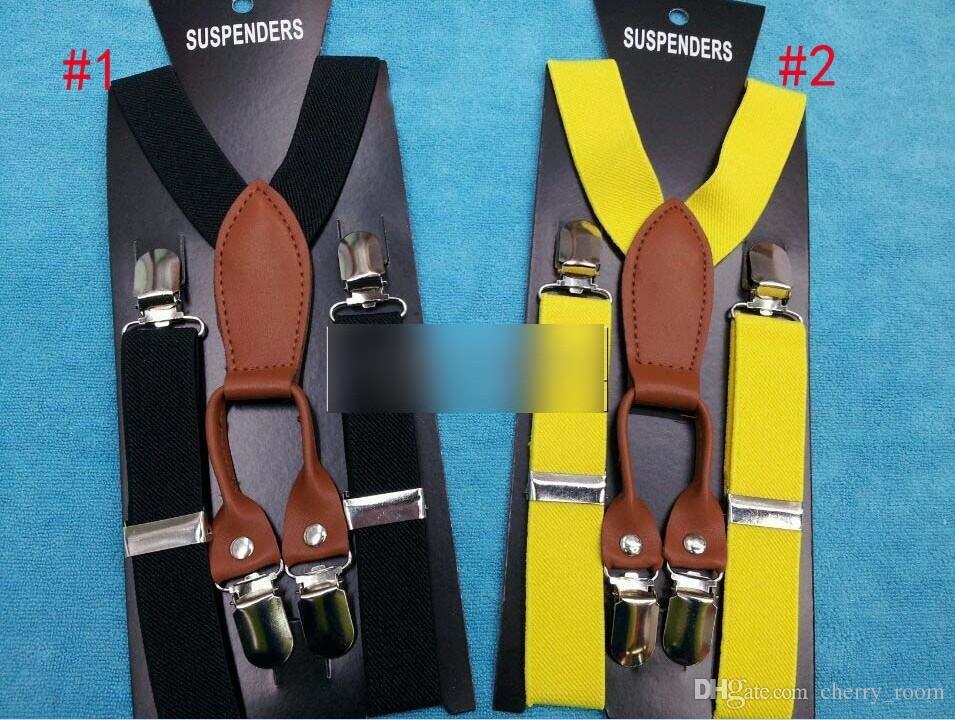 Baby Boys 4 Clip Suspenders Fashion Classical Sytle Solid Colors All-match Children Shoulder Belt Elastic Kids Wedding Suspender C3241