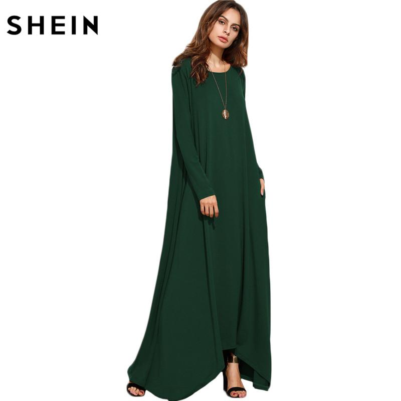 fceb7389f5 2019 SHEIN Women Asymmetrical Long Dresses Loose Long Sleeve T Shirt Dress  Spring Autumn Casual With Pocket Shift Maxi Dress Y1891104 From Zhengrui01,  ...