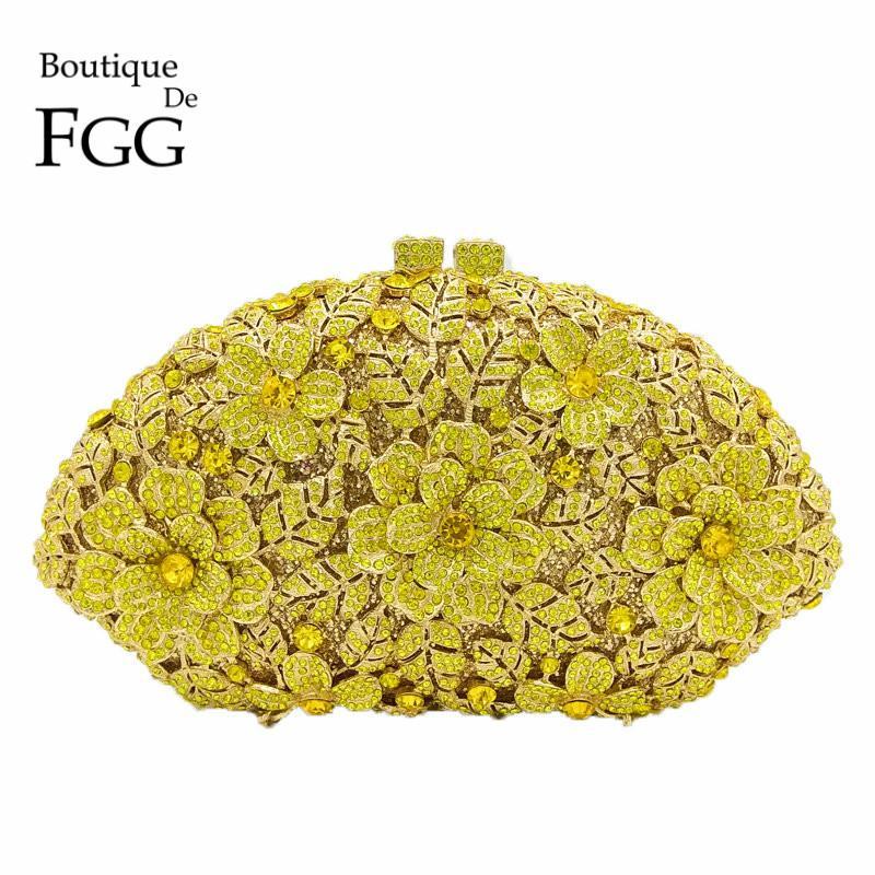 35e762ca7da Wholesale- Bridal Wedding Yellow Flower Clutch Crystal Bags HardCase ...