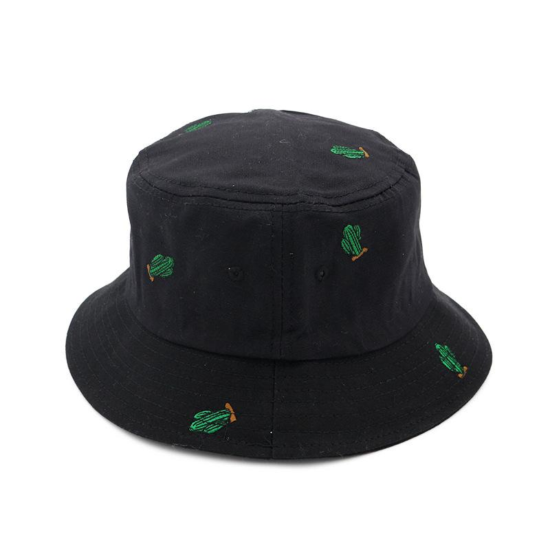 c79c2726656 2019 New Embroidered Green Cactus Bucket Hats Women Boonie Hats UV  Protection Caps Fisherman Sunscreen Beach Hats For Summer From Jianpin