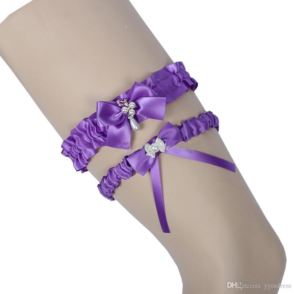 Burgundy Bridal Leg Garters Prom 가터 훈장 신부 웨딩 가터 벨트 2 개 세트 새틴 리본 보우 크리스탈 진주 무료 사이즈 17-21 inches