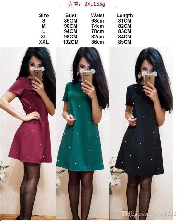 Gros Printemps Femmes Dress Casual O-cou À Manches Courtes A-Line Solide Cloutée Perlée Robes De Soirée Plage Vestidos S-XXXL