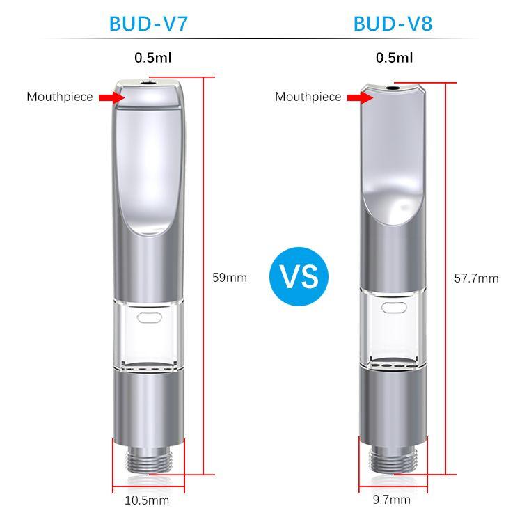 Top Air-flow Ceramic Heating Element with Preheat Function BUD-V7 BUD-V8  vape cartridge 510 refillable vape atomizer