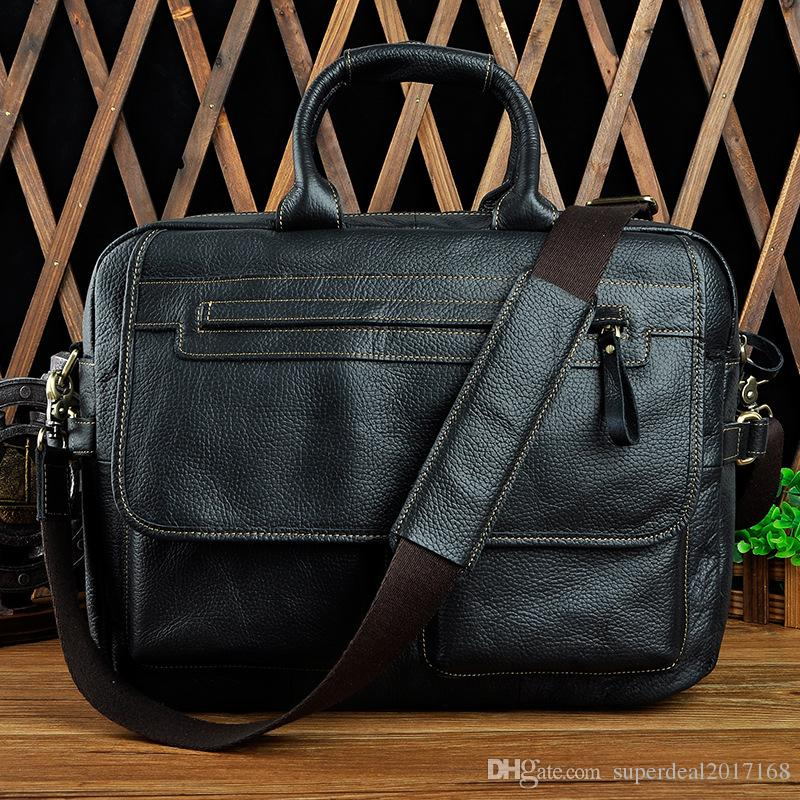 a50c80c0440a 100% Crazy Horse Leather Vintage Bags Europe Men Business Men s ...