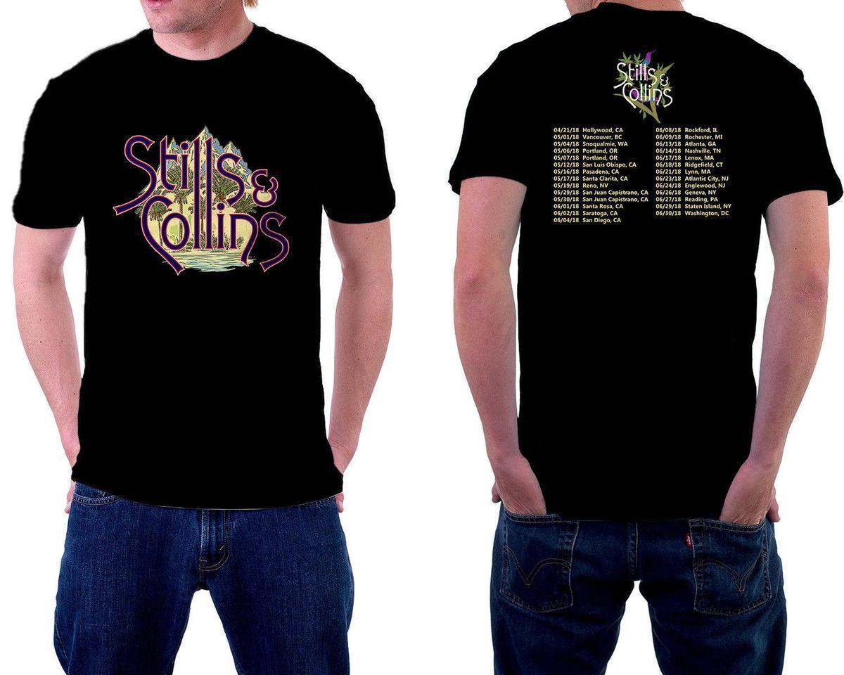 Stills Collins Tour 2018 Tshirt Black Color Short Sleeve New