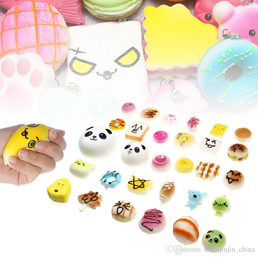 Squishy Simulation Bread 30pcs Random Mix PU Cute Lovely Cartoon Pendant Kawaii Food Squishy Super Kid Toy Decompression Toys GGA232 24LOTS