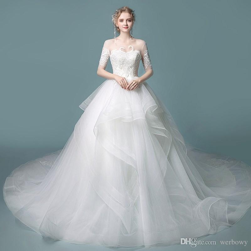 compre nueva capa de volantes faldas sin espalda vestidos de novia