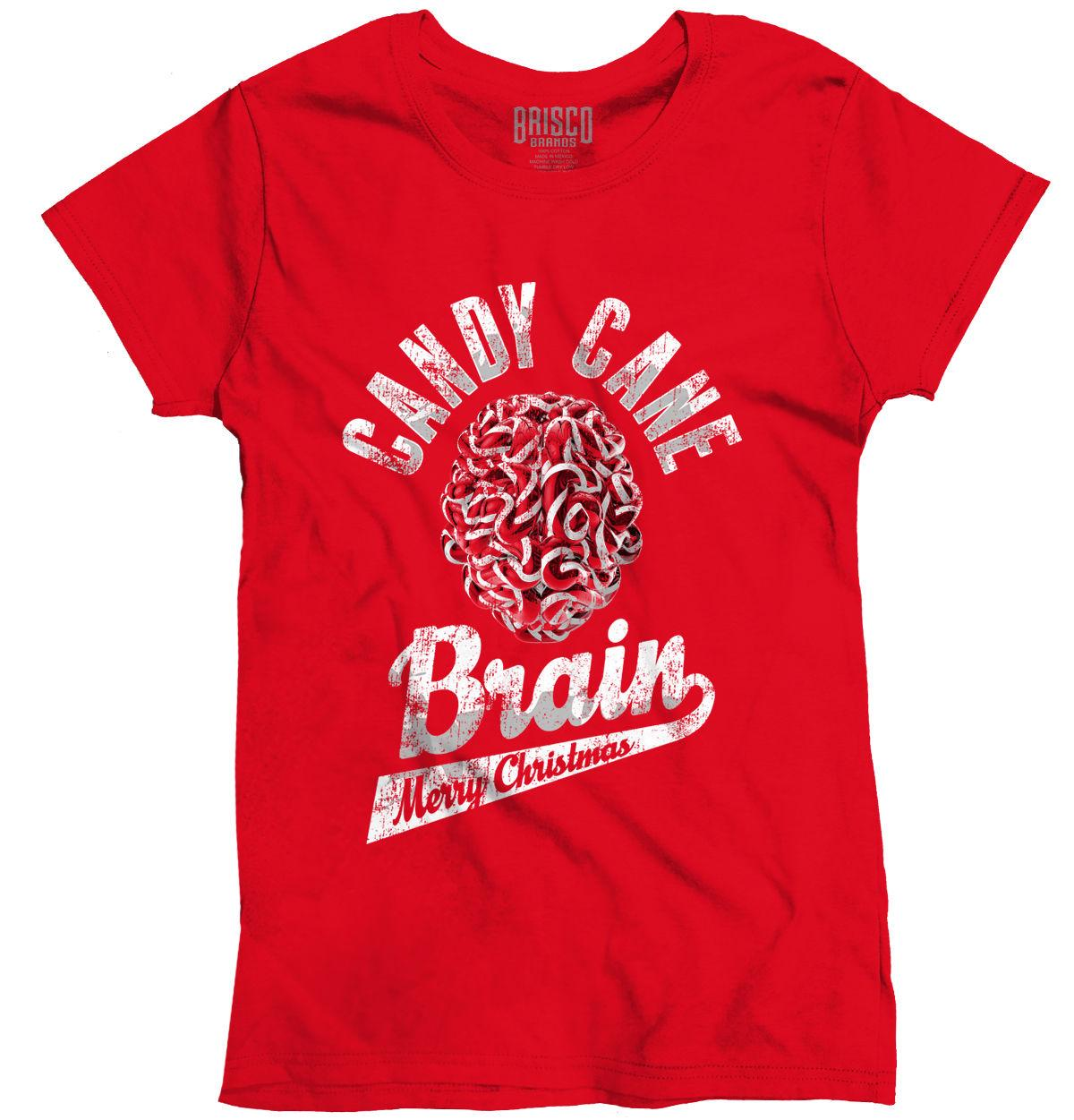 0ea940ccde Women's Tee Candy Cane Brain Trendy Cool Fashion Funny Christmas Gift Idea  Ladies T-shirt Cartoon Brand Clothing For Women Plus Size T Shirt
