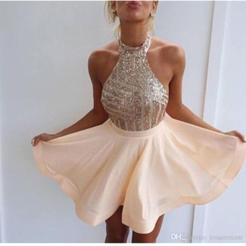 2019 Halter Backless Lantejoulas Cetim Festa Curta Prom Dress Vestidos de Formatura Curto Homecoming Vestidos Custom Made