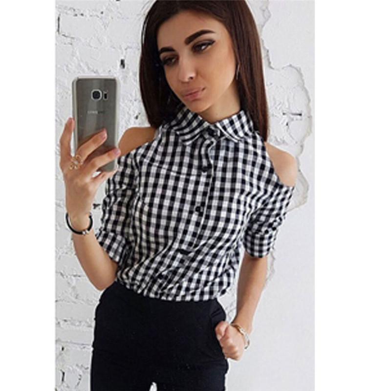 8bcbff3c97 Compre Moderno Blusa Para Mujer Botón De Geometría Poliéster Camisas De Manga  Larga Cuello Alzado Blusas Casuales De Rayas Finas Una Pieza A  22.28 Del  ...