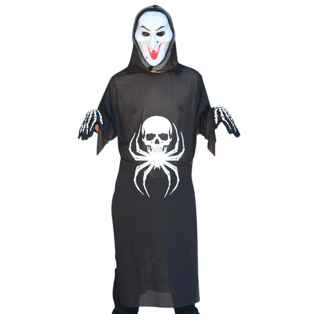 db00faf21c4 Unisex 3-Piece Halloween Costume Grim Reaper Spider Bones Ghosts Adult  Performance Set (Ghost Clothes Mask Gloves) One Size