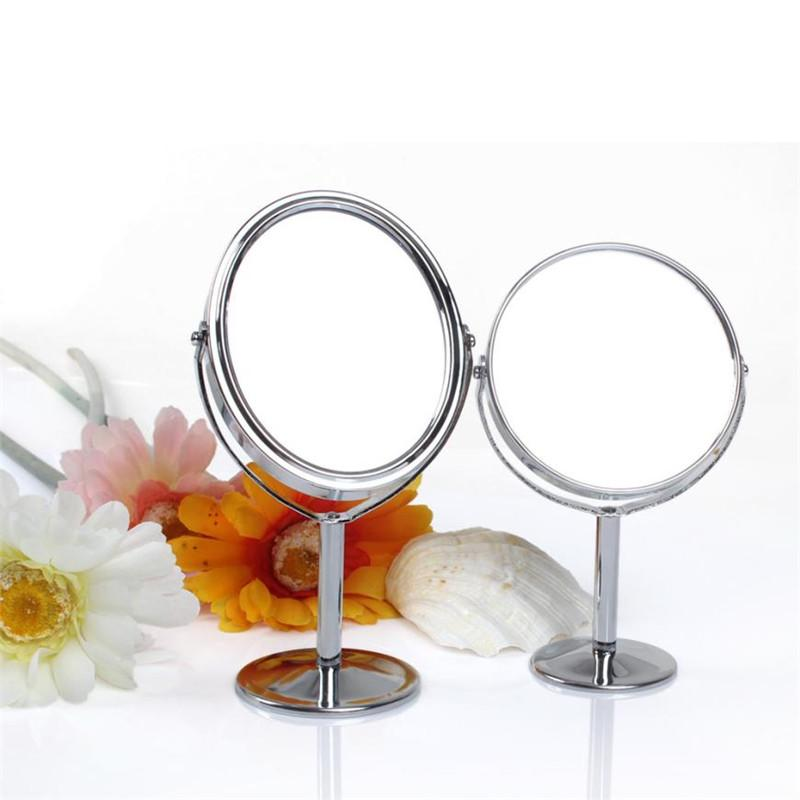 Beauty Makeup Cosmetic Mirror Double Sided Normal And Magnifying Stand Dual Sides Stainless Steel Make Up