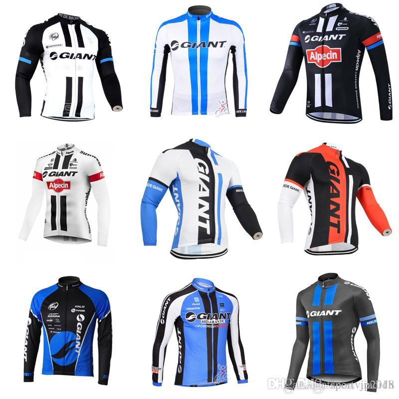 ef3851a62 GIANT Team Cycling Long Sleeves Jersey Men s Outdoors MTB Running ...