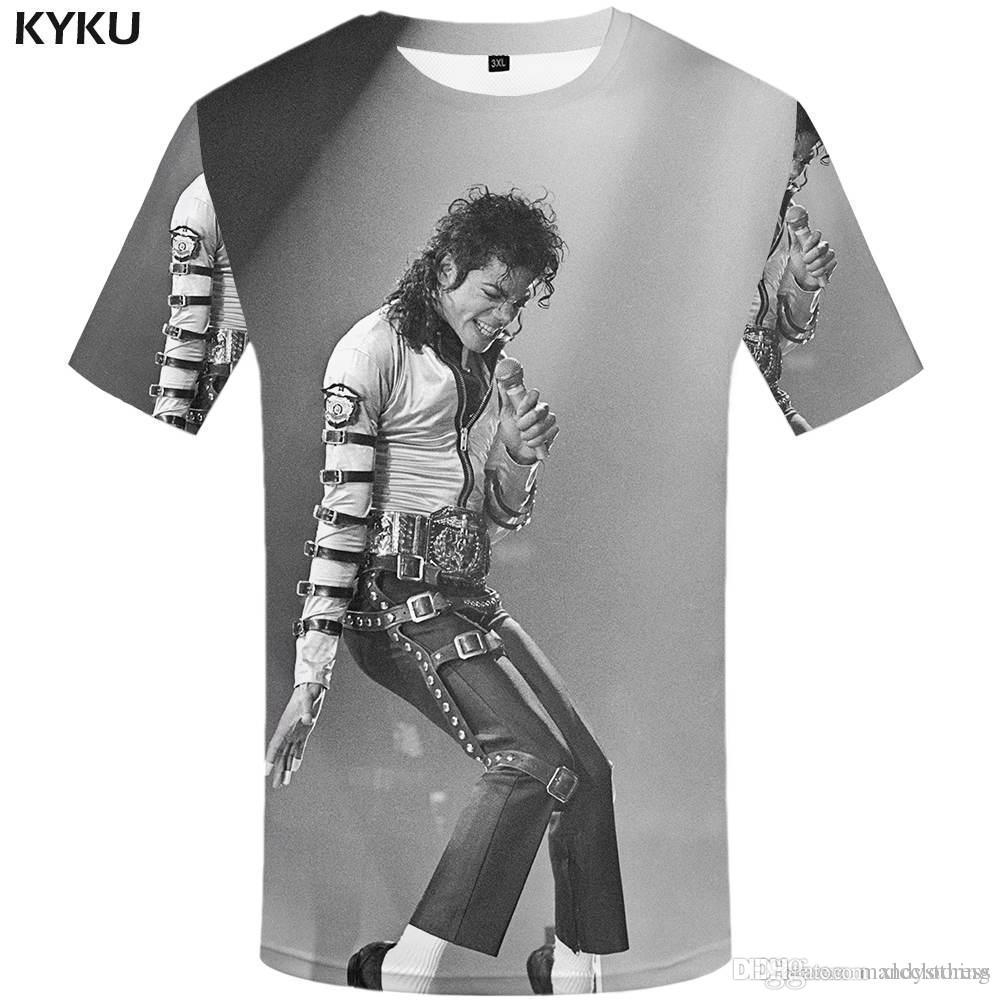 fa5a2769ad Compre KYKU Michael Jackson T Shirt Roupas De Dança Camisas Tees ...