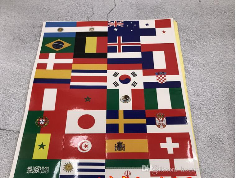 World Cup Top 32 National Flag Sticker Face Stickers for Clothes Football Soccer 32 Countries Flags Decals Soccer Teams Germany Brazil Spain