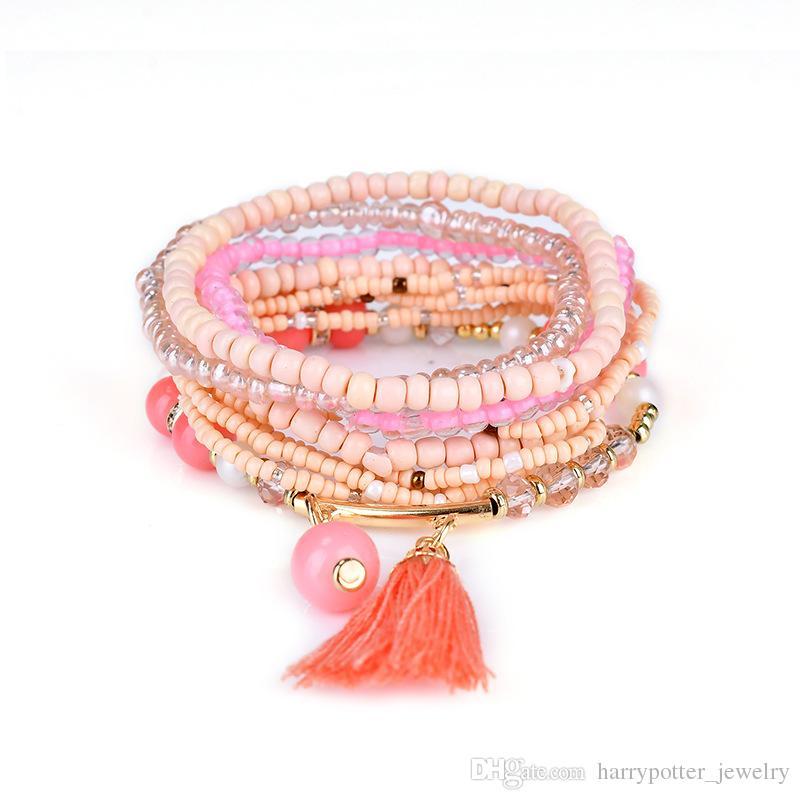 Braccialetti le donne di Boho Style Star Charm Braccialetti le donne Boho Tassel multistrato simulato perla braccialetto gioielli partito regalo nave di goccia 320118