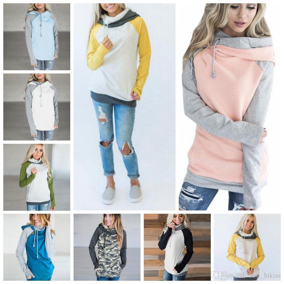 eebe4bc30 Double Hooded Pocket Pullover Sweatshirt Tops Women Pullover Hoodie Side  Zipper Patchwork Drawstring Sweatshirt 12pcs OOA4711