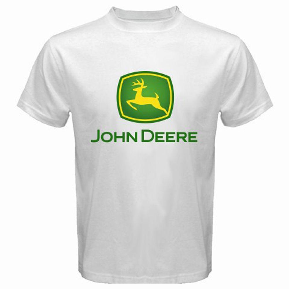 92451cdf New John Deere Tractor Agriculture Logo Men's White T-Shirt Size S-3XL