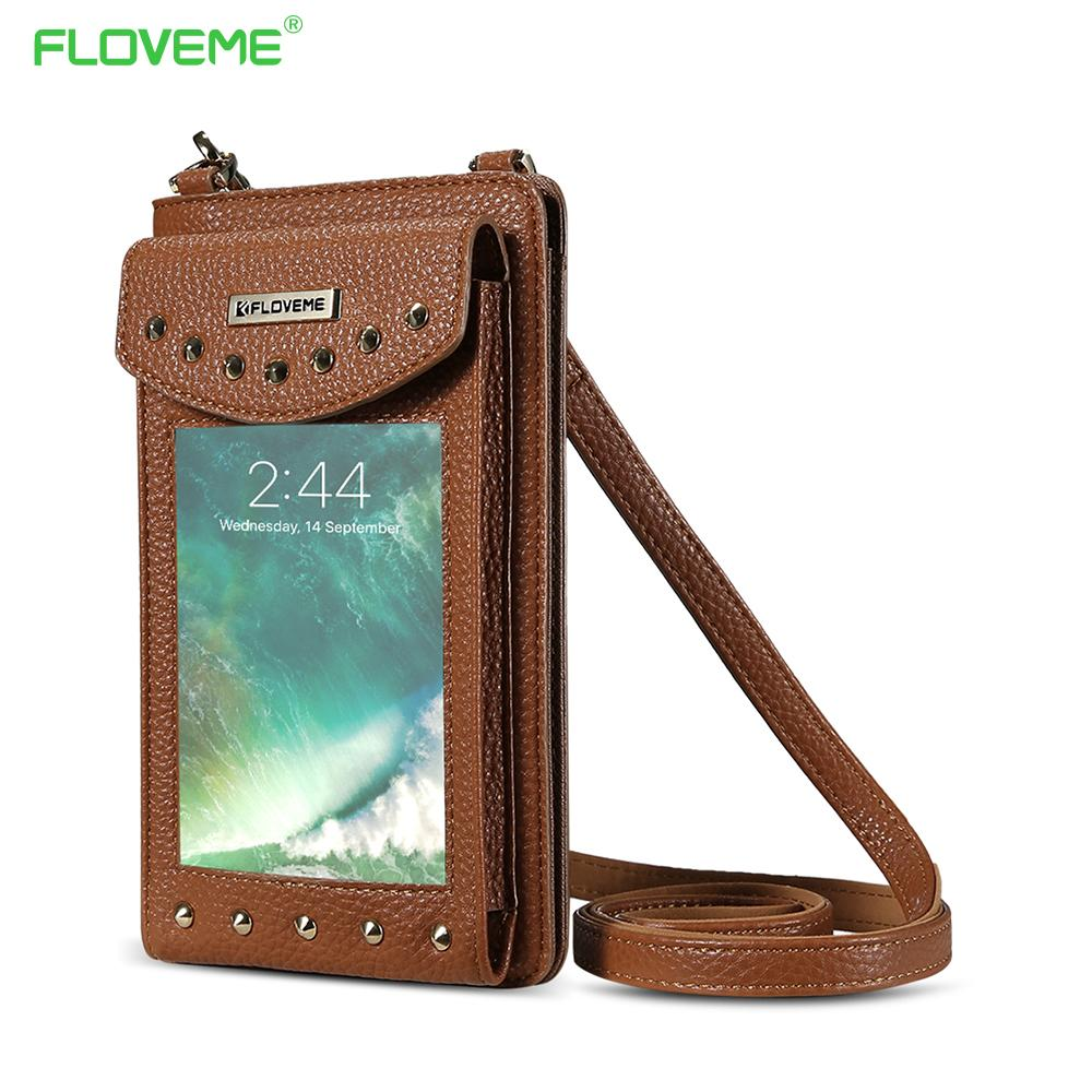 official photos cfc24 fd983 Floveme 5 .5 Inch Leather Wallet Cases For Iphone 6 6s 7 Plus Rivet Pouches  For Iphone X Iphone 8 7 6 Plus 5 Shoulder Bag Shells