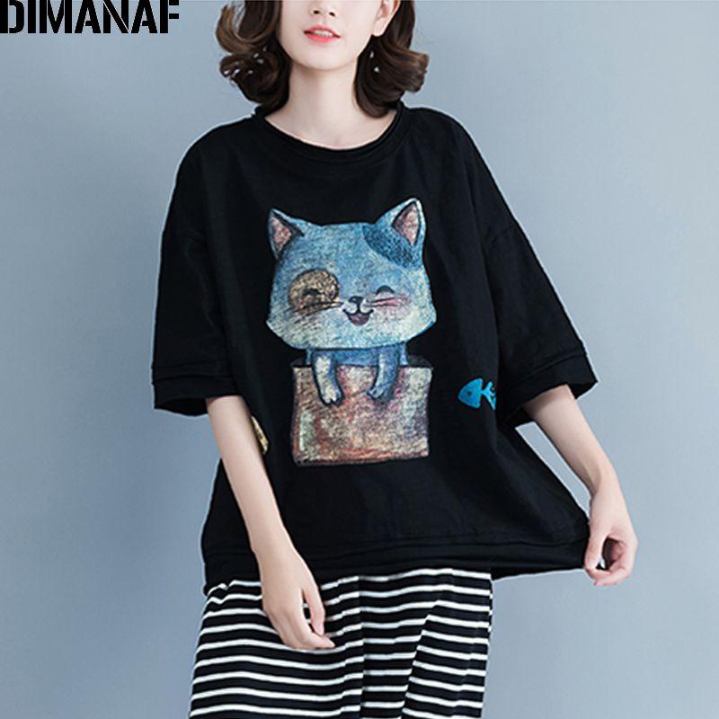 78775a5b7ff DIMANAF Women T Shirt Summer Plus Size Linen Print Cat Girl Female Basic  Tops Thin Casual Black Tees Oversized Loose Tshirt 2018 T Shirts Funky Tee  Shirt ...