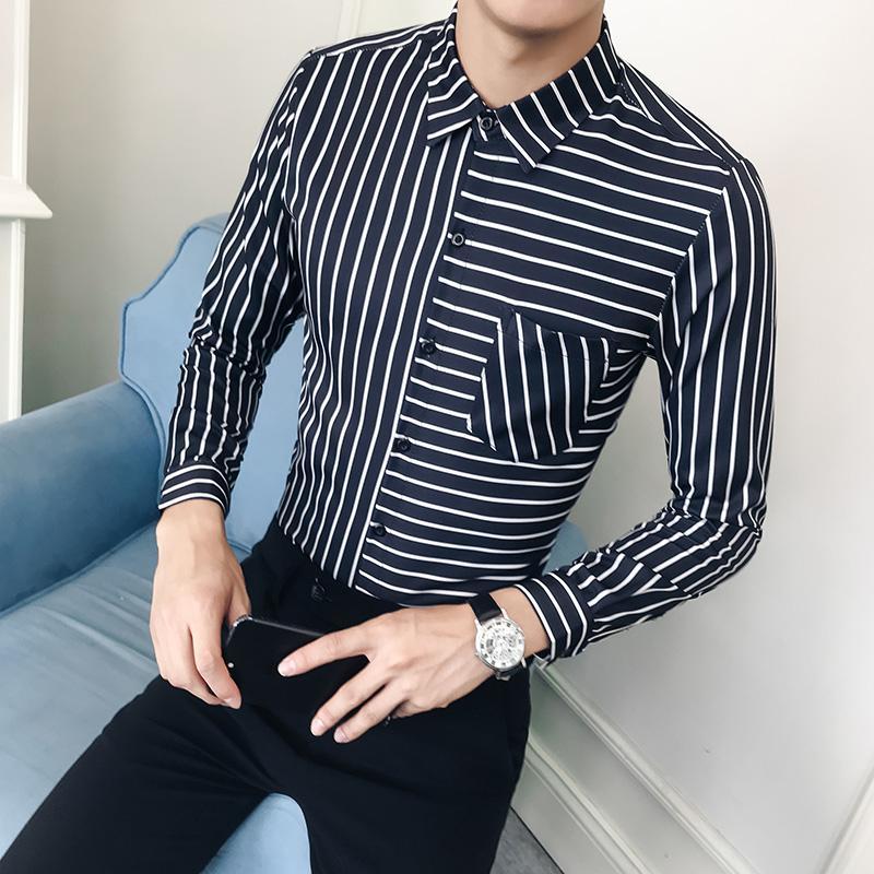 80d5c90be4 Compre Camisa De Tallas Grandes Hombres Moda 2018 Otoño Nuevas Camisas De Vestir  Formal Manga Larga De Hombre Slim Fit Rayas Blusa Casual Homme 5XL M A ...
