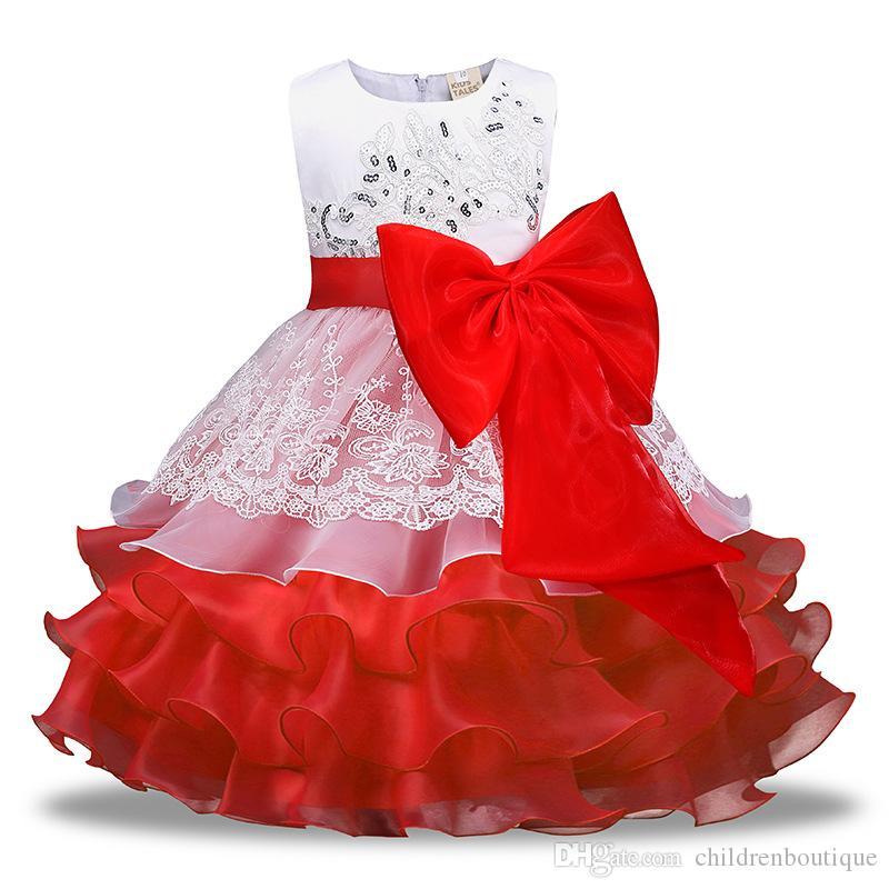 75a89454f06e9 Kids Clothing Baby Princess Dess 2018 New Girls Fancy Bowknot Wedding  Formal Dresses Party Pageant Prom Baby Girl Birthday Dress 4Colors