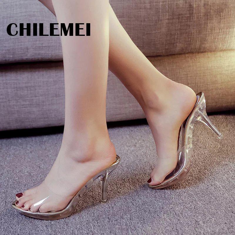 930dd07c Compre Sexy Transparente Sandalias De Las Mujeres De Las Mujeres Bombea  Cristal Zapatos De Plataforma De Tacón Alto De Verano De Las Señoras Zapatos  De ...