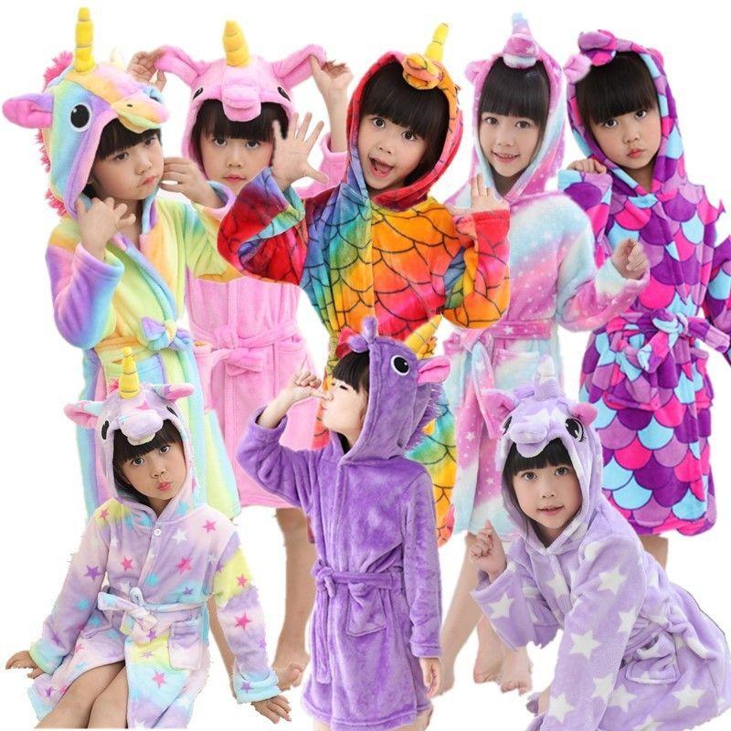 d9e408cc9e Unicorn Hooded Cosplay Animal Bathrobe For Girls Kids Flannel Towel ...