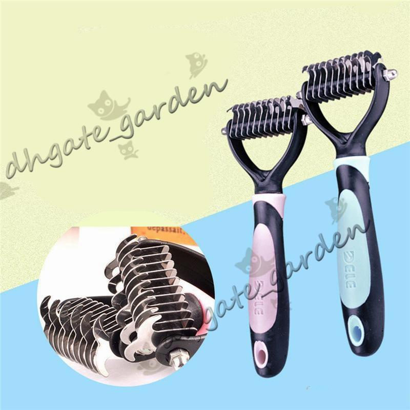 Cool Pink Blue Dogs Brush Dematting Grooming Deshedding Tool Trimmer Comb Rake Pets Puppy Brush