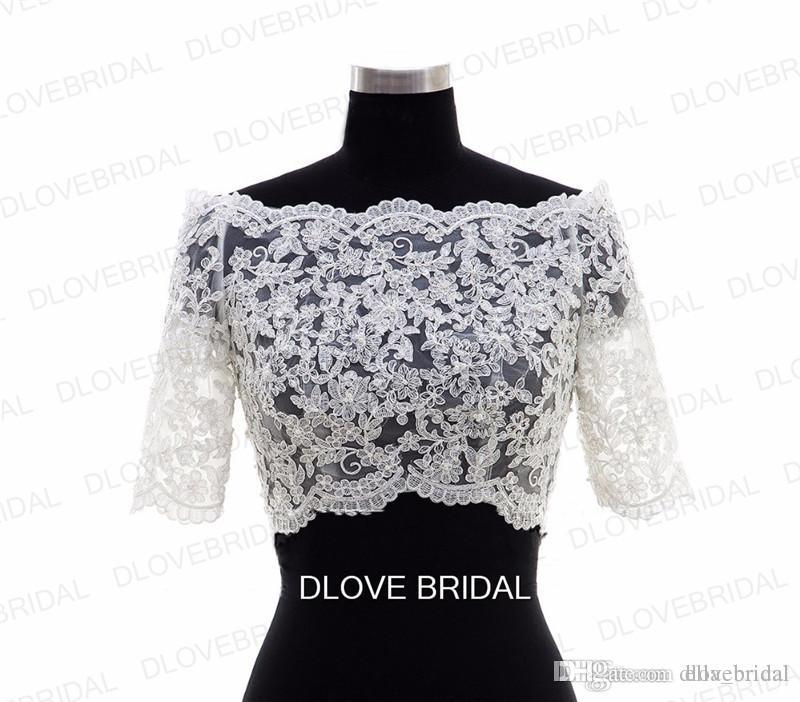 New Half Sleeve Lace Bridal Jacket Lace Appliqued Tulle Wedding Party Dress Sheer Wraps Bolero with Covered Buttons Custom Make Real Photos