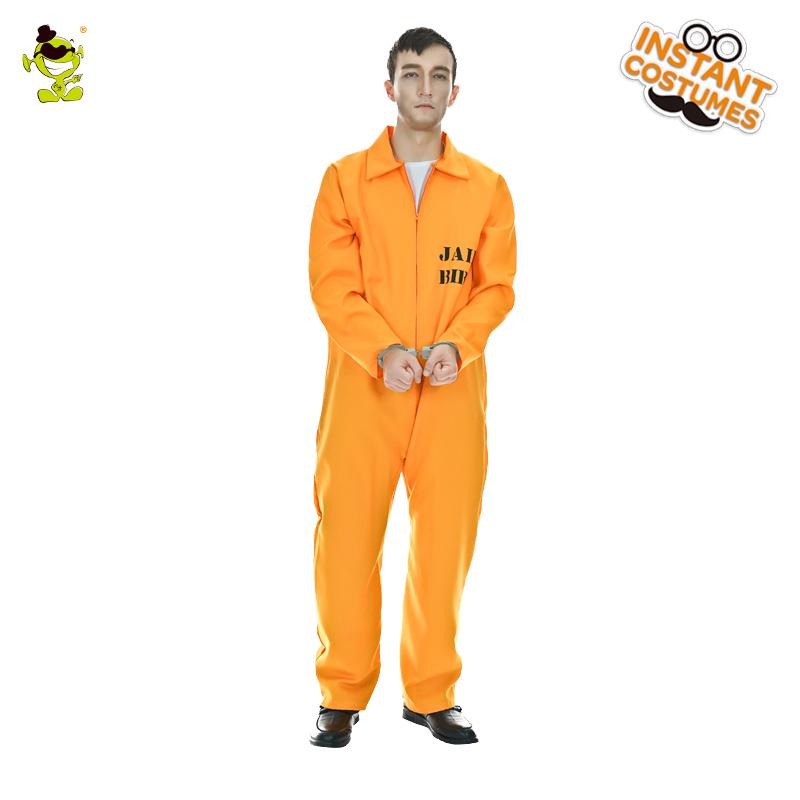 2018 New Fashion Prisoner Costume Men Convict Orange Outfit Adult Funny  Halloween Fantasia Fancy Dress One Size Themed Party Costumes Group  Halloween ...
