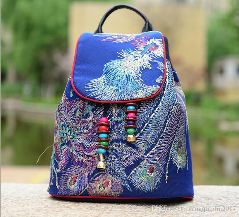 Blue Phoenix Embroidery Women Vintage Canvas Backpack Rucksack School  Satchel Travel Bag Purse Backpack Purse Dog Backpack From Yangqinglin2017 8e86a600373c4