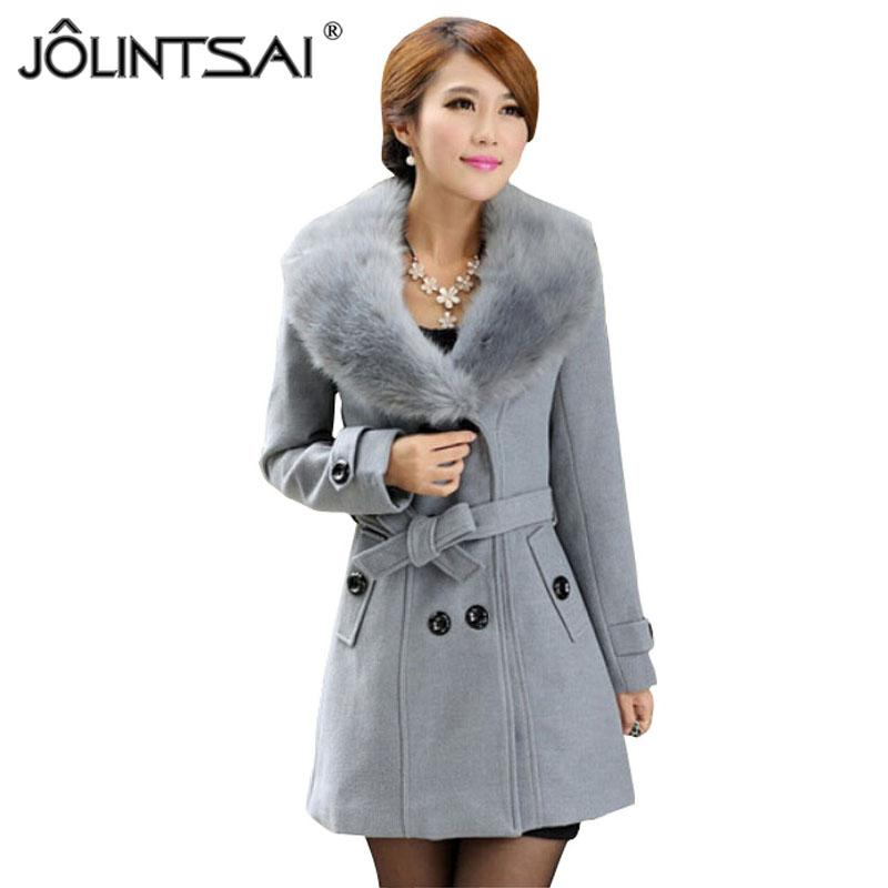 737525816875f 2019 Wholesale Plus Size M 5XL Winter Coat Women 2015 New Fashion Slim Big  Fur Collar Double Breasted Womens Wool Blended Hot Sale AE ME 168 From  Maoku, ...