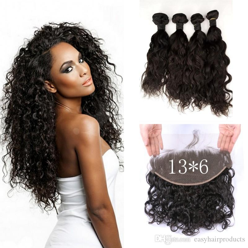 136inch Virgin Water Wave Lace Frontal Closure With 4 Bundles