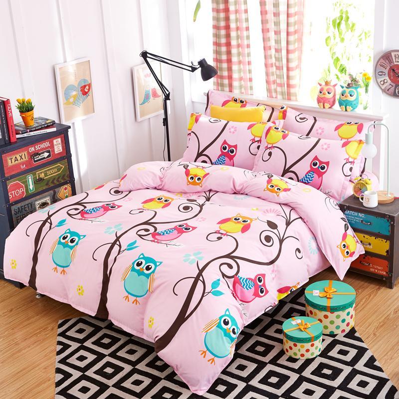 Nighthawk Owl Bedding Set Pink Duvet Cover Sets For Kids Girl Bed