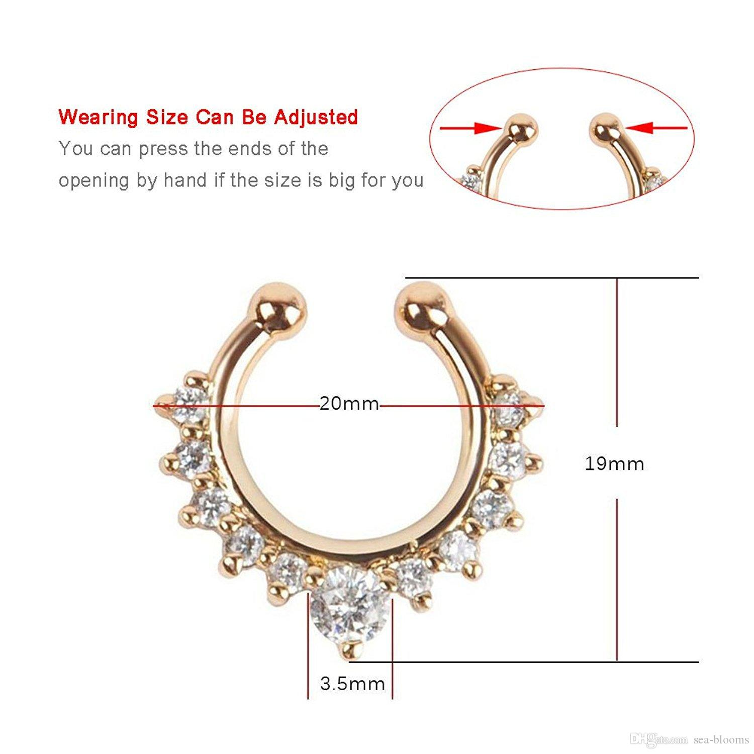 Fashion Crystal Fake Nose Ring Septum Nose Hoop Ring Hoop Vintage Fake Nose Ring Non Piercing Body Jewelry Free DHL G87L