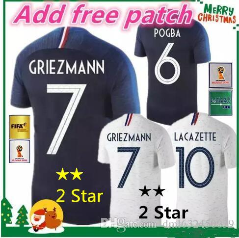 863fadf4f6b 2 Star 2018 World Cup POGBA GRIEZMANN PAYET KANTE Mbappe Football Shirts 18  19 National Team Home Away Soccer Jerseys Tracksuit Soccer Jerseys Shirt  Online ...