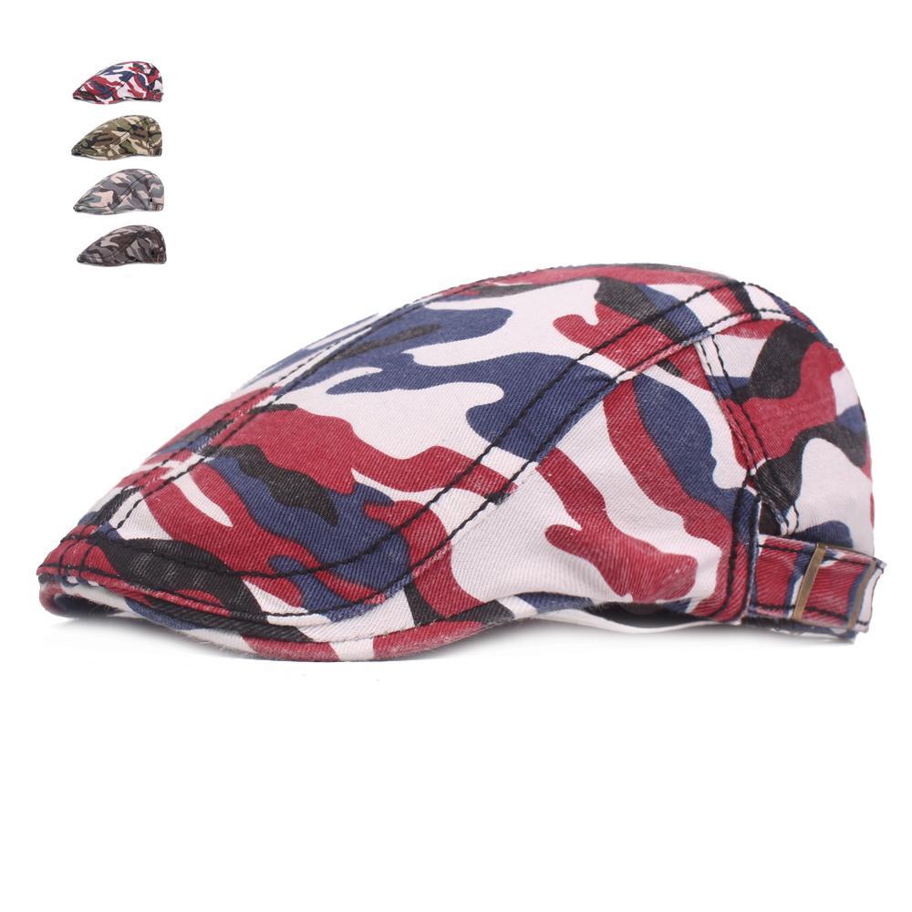 c3f946ba0de4c 2019 Summer Beret Hats For Men Women Cotton Visors Sun Hat Outdoor Mens  Flat Caps Adjustable Camouflage Berets Casquette Boina Caps From Hongshaor