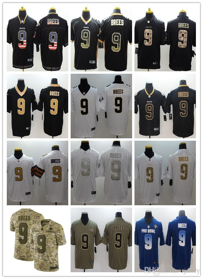 official photos 1fc8e 36b30 2018-2019 Men 9 Drew Brees New Orleans Saints Football Jerseys 100%  Stitched Embroidery Drew Brees Color Rush Football Stitching Jerseys