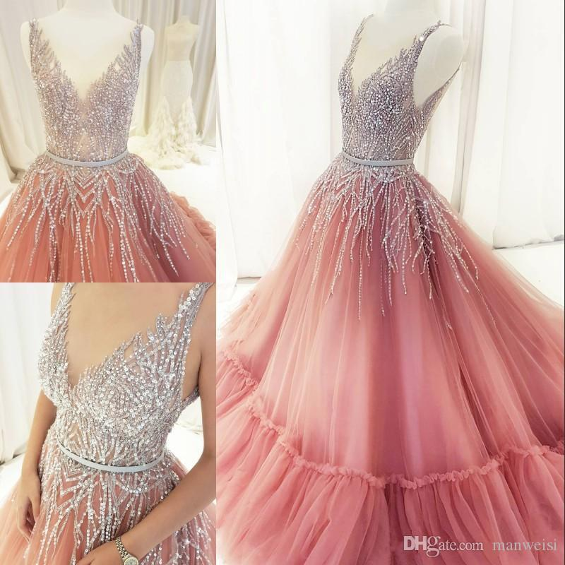 Sparkly Sequins Ball Gown Prom Dresses Blush Beaded V Neck Evening