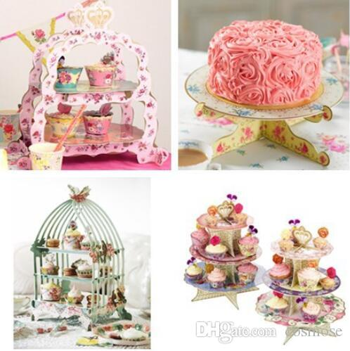 2019 Paper Round Cake Stand Cupcake Plate Birthday Party Paper Cake ...