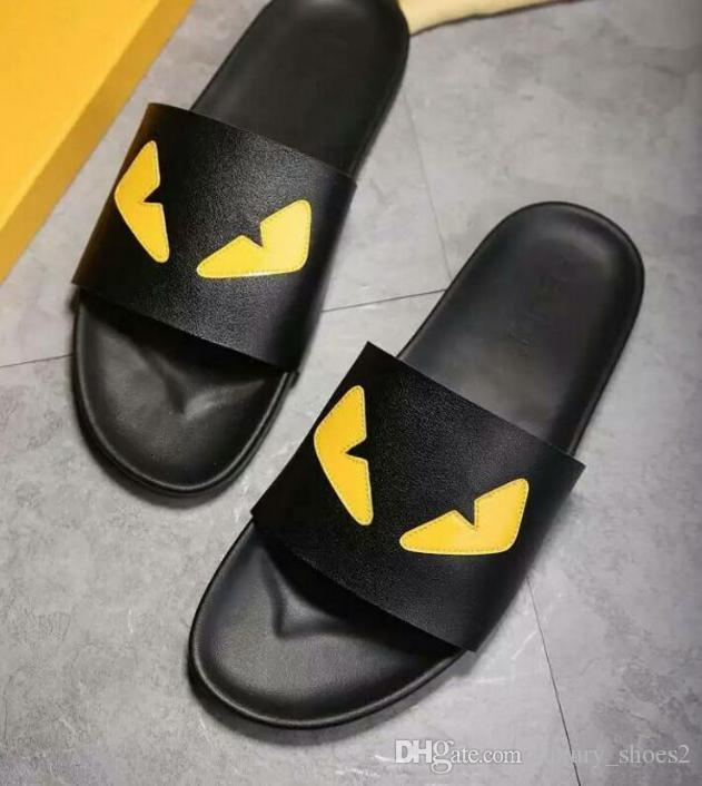 2e632e7682e03 Brand Designer High-end Custom Metal Cowhide Fashion Eye Little Monster Men  Slipper Comfortable Tlat Casual Trend Shoes Flip Flops 44D8 Original Shoe  Box ...