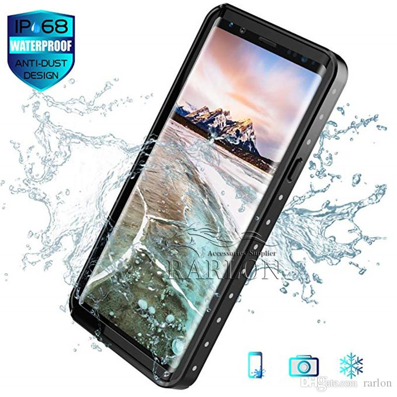 new product 627b7 10b86 Waterproof Case Full Body Rugged Clear Bumper Case with Built-in Screen  Protector for Samsung Galaxy S10 E S9 Note 9 iPhone XS Max XR X