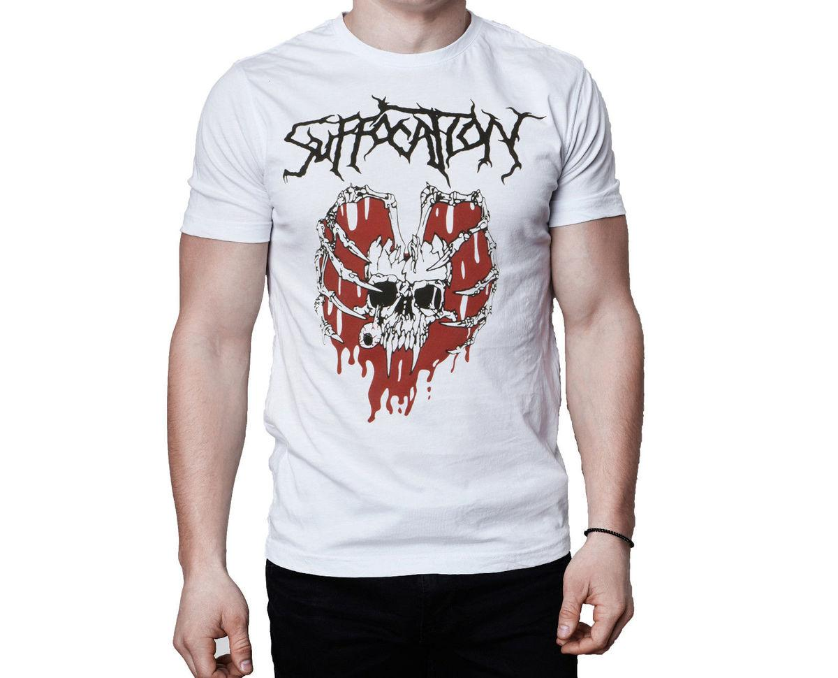 Suffocation Band Skeleton Heart Logo White T-Shirt 100% Cotton Short Sleeves T Shirts Top Tee Hipster Tee Shirt Homme
