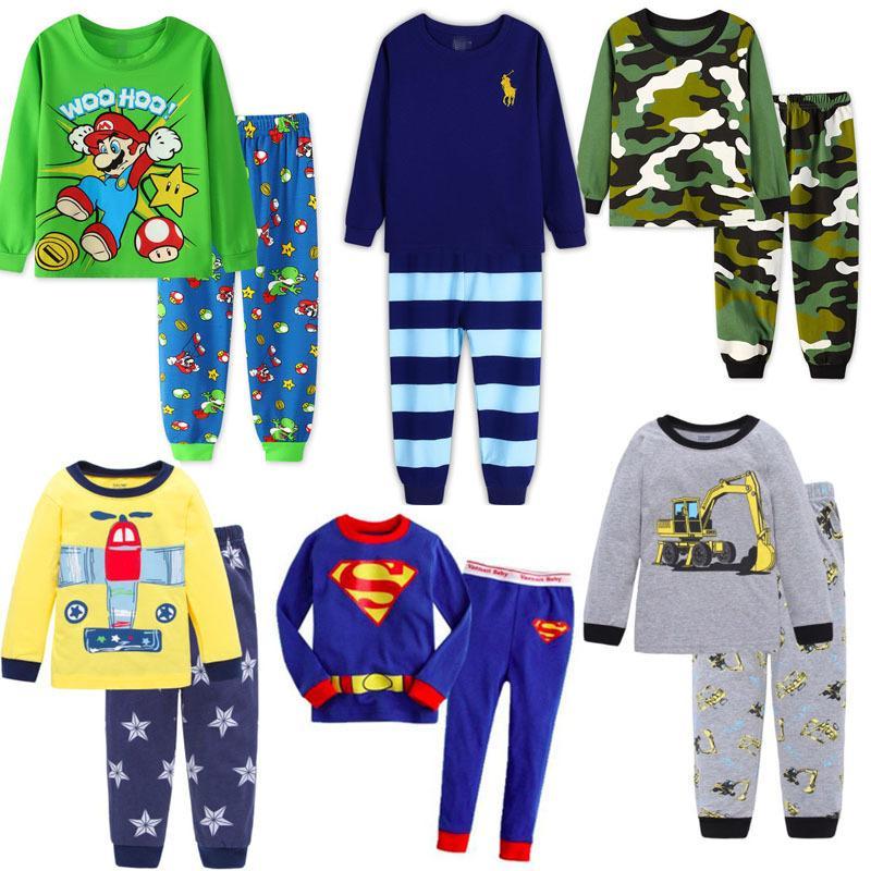 cc5aa08e91 Compre Niños Super Mario Color Camuflaje Pijamas Conjuntos Camiseta De  Algodón + Pantalones Niños Niñas Otoño Invierno Ropa De Dormir Ropa Casual  SA1397 ...