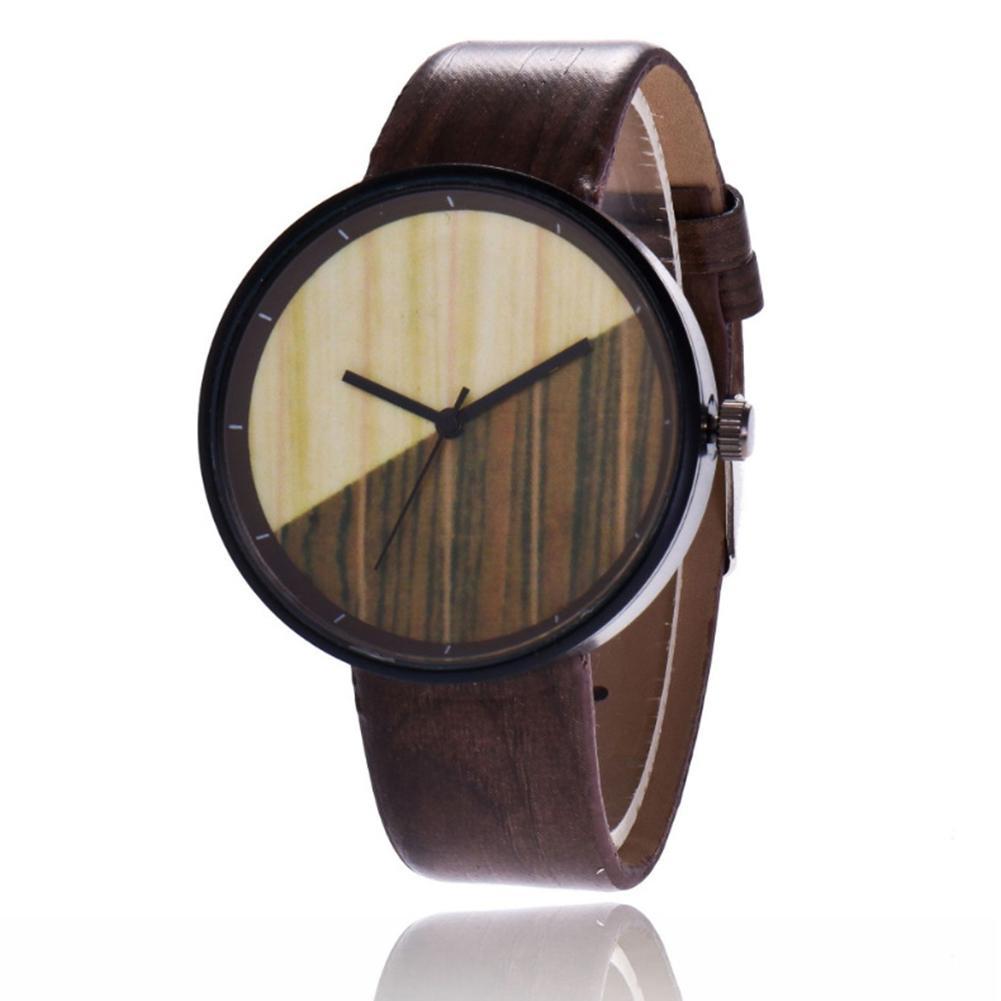 2018 De Cuarzo Grano Correa Reloj Madera Para Mujer Pareja Vintage Caliente Redondo Pulsera Cuero Imitación Hombres 4q3j5ARL