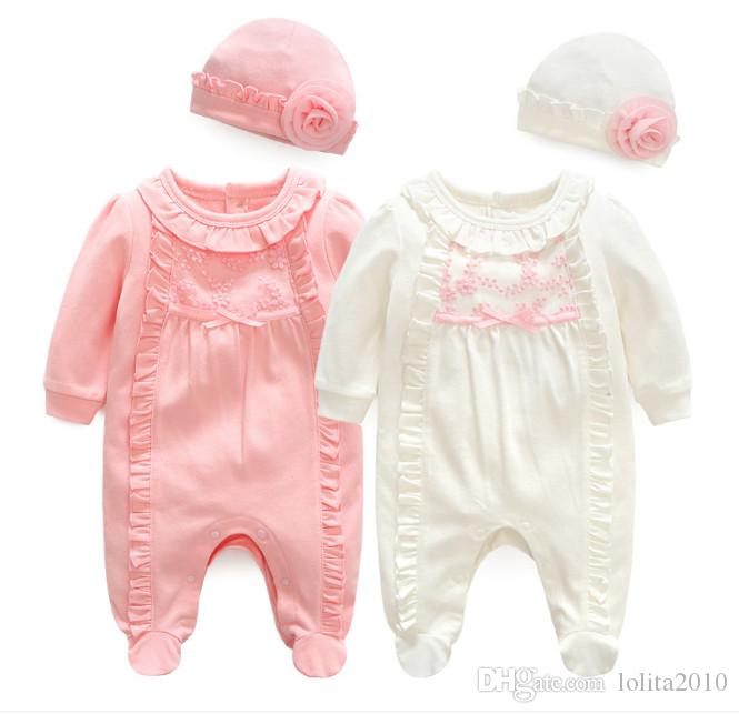 c84ca969d8 2019 Newborn Baby Spring Autumn Romper Suit Outfits Girl Clothes Lace  Flowers Rompers+Hats Baby Clothing Sets Infant Jumpsuit Bodysuits From  Lolita2010